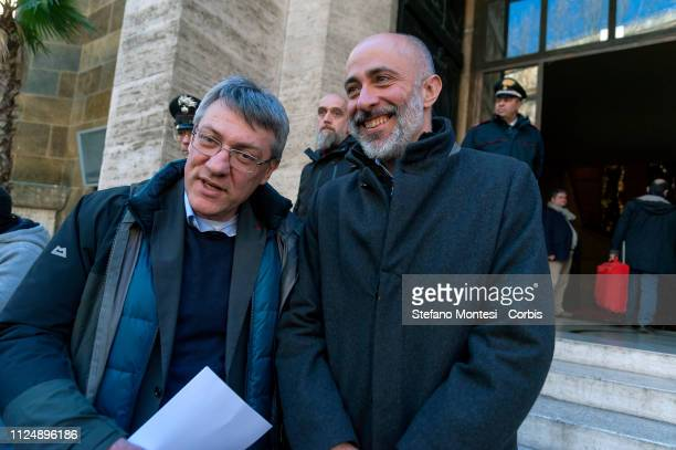 The general secretary of the trade union CGIL Maurizio Landini with the general secretary of FILT the federation of transport workers of the CGIL...