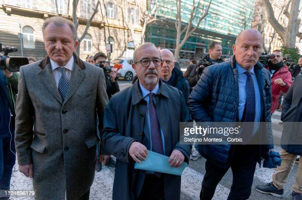 The general secretary of the Uiltrasporti trade union Claudio Tarlazzi with the general secretary of the Uil Carmelo Barbagallo on arrival at the...