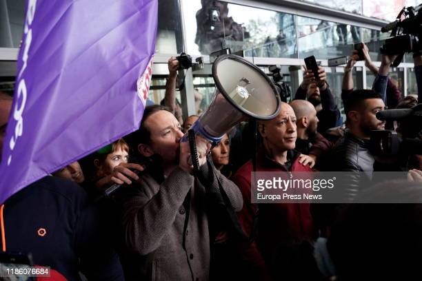 The general secretary of Unidas Podemos Pablo Iglesias is seen during an electoral campaign rally of Unidas Podemos in Bilbao on November 07 2019 in...