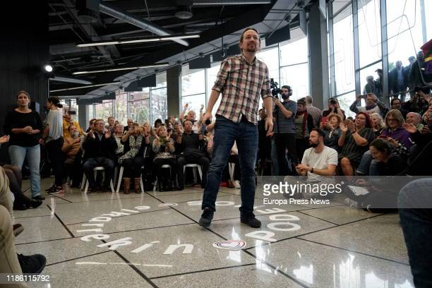 The general secretary of Unidas Podemos, Pablo Iglesias, is seen during his speech at an electoral campaign act of Unidas Podemos in Bilbao on...