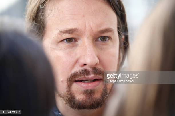 The general secretary of Unidas Podemos Pablo Iglesias is seen talking to the press about the possible coalition with PSOE before the meeting at the...
