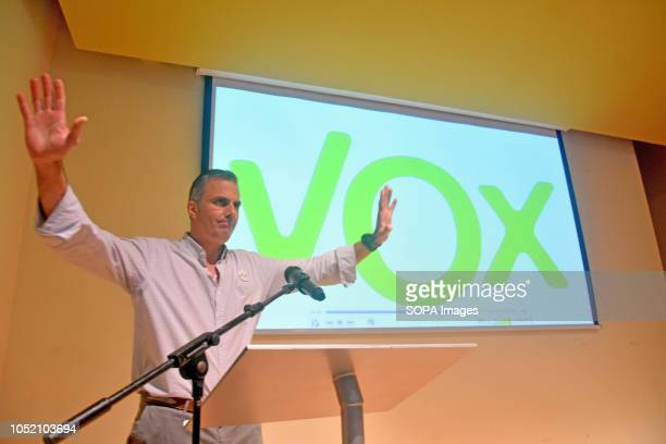 The general secretary of Vox Javier Ortega seen speaking at the Sant VIcents del Horts during the event The ultraright Spanish political party Vox...