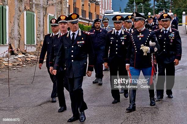The General Tullio Del Sette Commanding General of the Carabinieri arrival at funeral to a ceremony for the victims of a recent earthquake in...