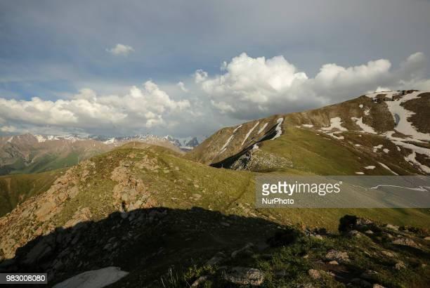 The general view from Furmanow peak on in Ili Alatau mountains of Tian Shan in Kazakhstan, June 22,2018