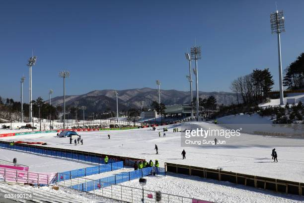 The general view of Alpensia CrossCountry Skiing Centre venue for the Cross County Skiing and Nordic Combined in Alpensia Resort Park ahead of...