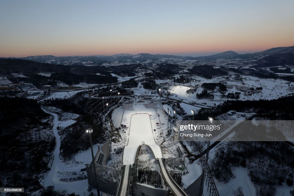 The general view of Alpensia Ski Jumping Centre in Alpensia Resort Park ahead of PyeongChang 2018 Winter Olympic Games on February 2, 2017 in Pyeongchang-gun, South Korea.