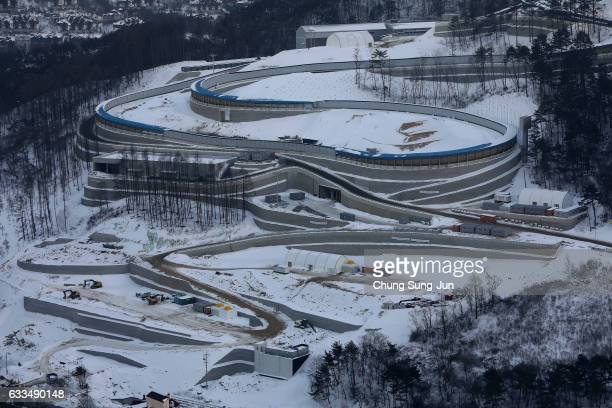 The general view of Alpensia Sliding Centre venue for the Luge Bobsleigh and Skeleton in Alpensia Resort Park ahead of PyeongChang 2018 Winter...