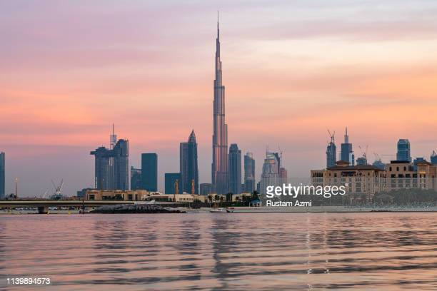 January 2: The general view of Dubai Skyline at Sunset on january 2, 2019 in Dubai, United Arab Emirates.