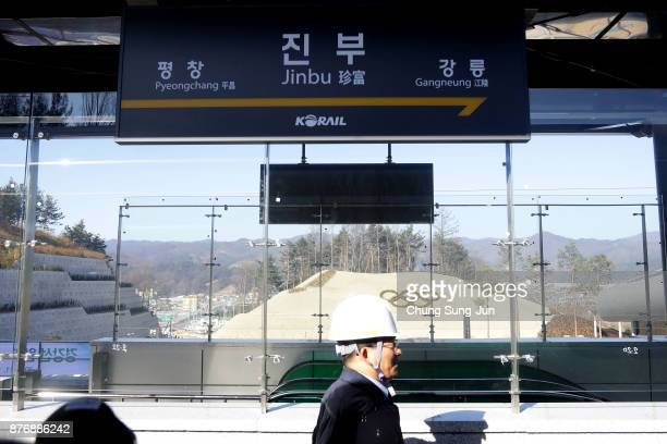 The general view of Jinbu Railway Station on November 21 2017 in Gangneung South Korea The Gyeongggang Line will connect PyeongChang Winter Olympic's...