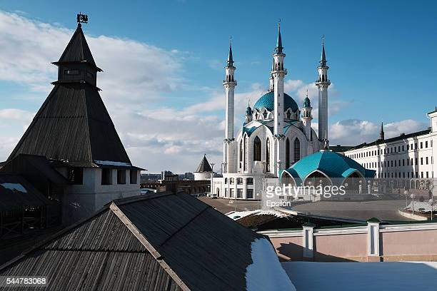 The General view of KulSharif mosque in Kazan Kremlin on March 20 2016 in Kazan Russia