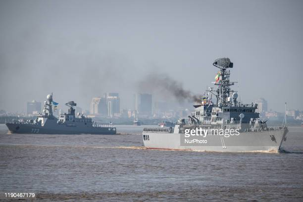 The general view of Myanmar Navy warships during a ceremony to mark the Myanmar Navy 72nd anniversary at Irrawaddy Naval Region Command headquarters...