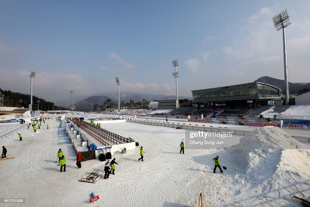 The general view of the Alpensia Biathlon Centre, venue for Biathlon ahead of PyeongChang 2018 Winter Olympic Games on March 4, 2017 in Pyeonhchang-Gun, South Korea.