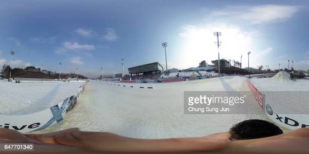 The general view of the Alpensia Biathlon Centre venue for Biathlon ahead of PyeongChang 2018 Winter Olympic Games on March 4 2017 in PyeonhchangGun...