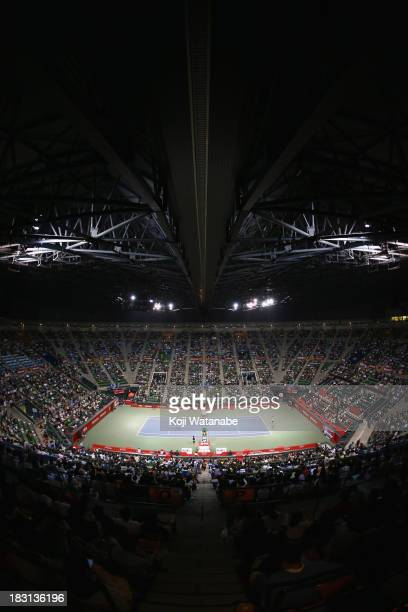 The general view of the center court during Rakuten Open at Ariake Colosseum on October 5 2013 in Tokyo Japan