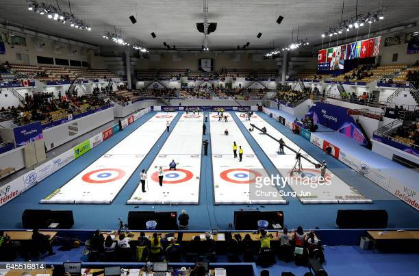 The general view of the Gangneung Curling Centre, venue for Curling ahead of PyeongChang 2018 Winter Olympic Games on February 26, 2017 in Gangneung,...
