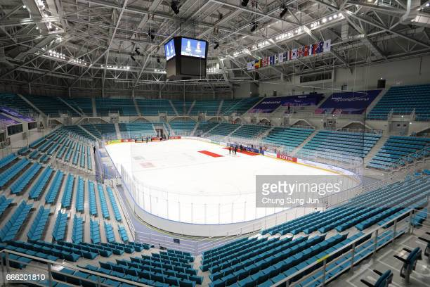 The general view of the Gangneung Hockey Centre venue for the Ice Hockey ahead of PyeongChang 2018 Winter Olympic Games on April 8 2017 in Gangneung...