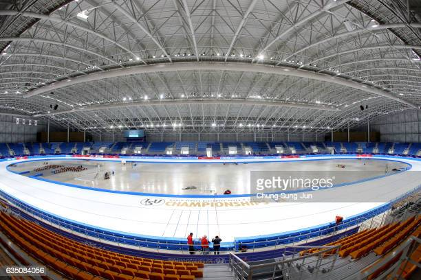 The general view of the Gangneung Oval, venue for Speed Skating ahead of PyeongChang 2018 Winter Olympic Games on February 8, 2017 in Gangneung,...