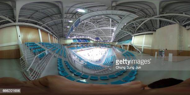 The general view of the Kwandong Hockey Centre, venue for the Ice Hockey ahead of PyeongChang 2018 Winter Olympic Games on April 8, 2017 in...