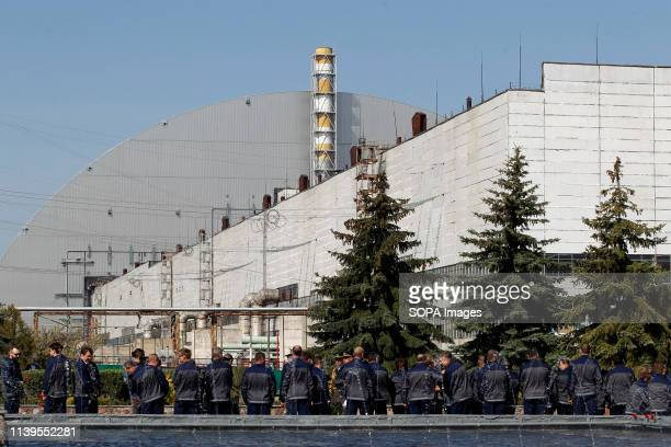 The general view of the New Safe Confinement covering the 4th block of the Chernobyl Nuclear power plant during the anniversary Ukrainians marked the...