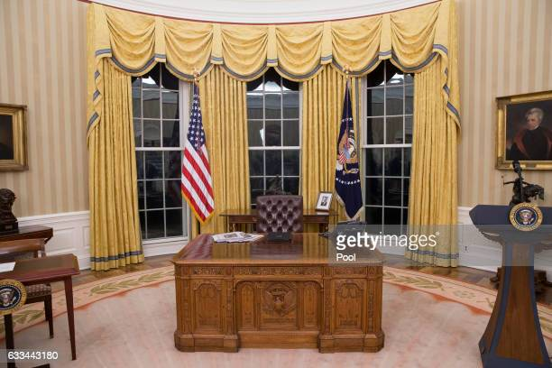 The general view of the Oval Office of the White House on February 1 2017 in Washington DC Tillerson was confirmed by the Senate earlier in the day...