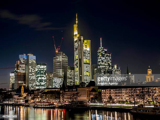 The general view of the skyscrapers in Frankfurt am Main Germany on October 30 2013 Frankfurt listed as one of ten Alpha world cities in German is...