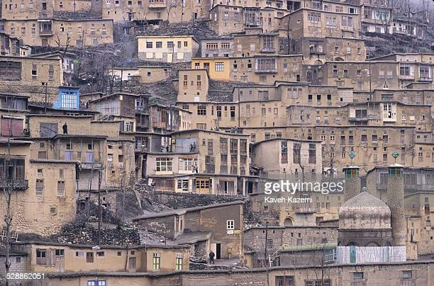 The general view of the village on a rainy day in Masouleh, Iran, July 1, 1989. Built into a mountain side, the village is terraced with the roofs of...