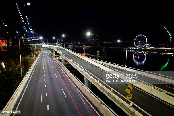 The general view shows empty streets in central Brisbane early on August 1 after Australia's third-largest city Brisbane and other parts of...