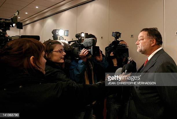 The general-director of the ArcelorMittal French branch, Daniel Soury-Lavergne answers tto journalists' questions, 16 January 2008 in Hauconcourt,...