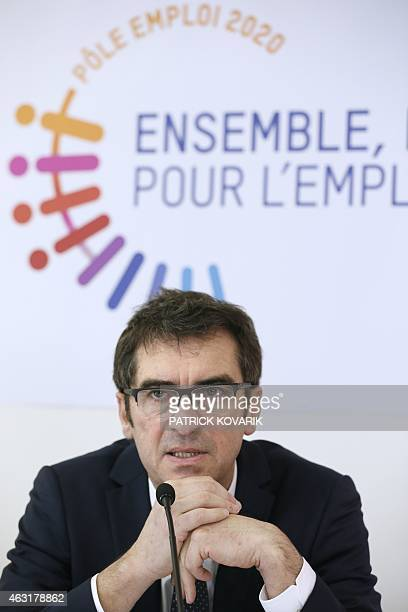 The generaldirector of the French state employment agency Pole Emploi Jean Basseres gives a press conference on February 11 2015 in Paris AFP PHOTO /...