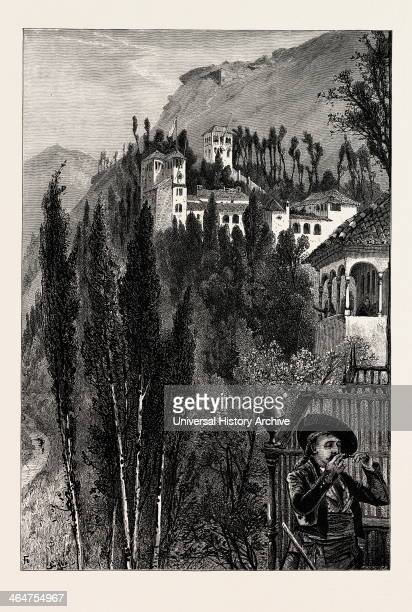 The Generaliffe From The Walls Of The Alhambra Ganada Spain 19th Century Engraving