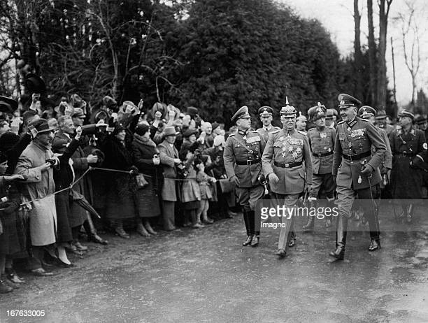The Generals Erich Ludendorff / Werner von Blomberg and Baron Werner von Fritsch Tutzing Guard of honor at General Ludendorff's 70th Birthday Germany...