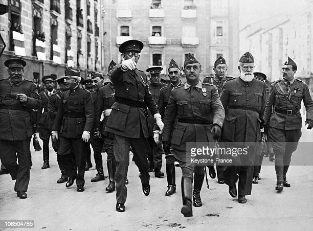 The Generals Franco And Mola Parading Through The Streets Of Burgos In Spain To The Left Is General Cavalcanti A Month After The Beginning Of His...