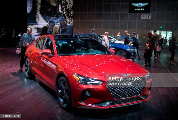 The Genesis G70 car on display during the AutoMobility LA event, at the 2019 Los Angeles Auto Show in Los Angeles, California on November 21, 2019. -...
