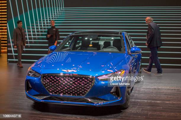 The Genesis G70 named Motor Trend Car of the Year is shown at the auto trade show AutoMobility LA at the Los Angeles Convention Center on November 29...