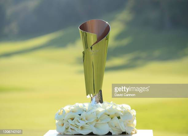 The Genesis Invitational Trophy at the Presentation during the final round of the Genesis Invitational at The Riviera Country Club on February 16,...
