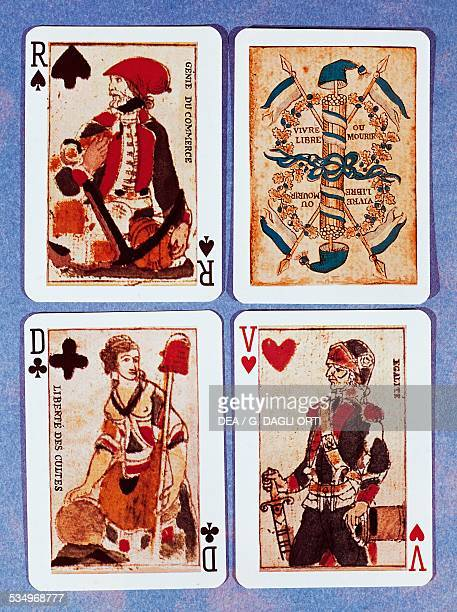 The Genius of commerce Revolutionary symbols Freedom of religion and Equality playing cards from the second year of the French Revolution France 18th...