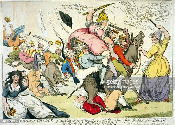 The genius of France extirpating despotism tyranny oppression from the face of the earth Or the royal warriors defeated by Isaac Cruikshank 17561811...