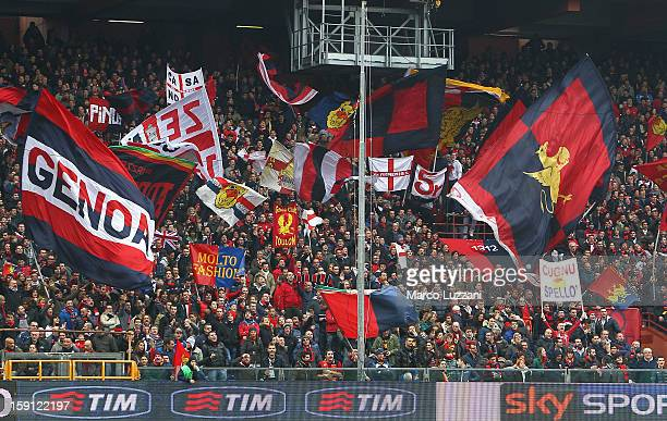 The Genoa CFC fans show their support before the Serie A match between Genoa CFC and Bologna FC at Stadio Luigi Ferraris on January 6 2013 in Genoa...