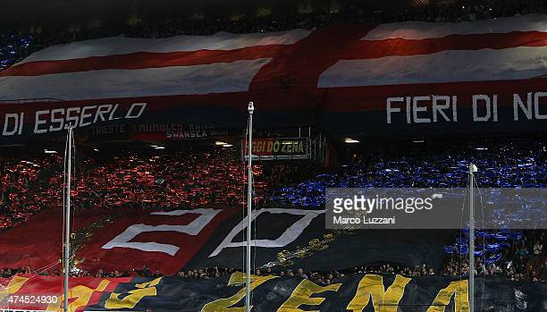 The Genoa CFC fans show their support before the Serie A match between Genoa CFC and FC Internazionale Milano at Stadio Luigi Ferraris on May 23 2015...