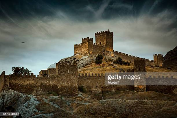 the genoese medieval fortress in sudak, crimea - chateau stock pictures, royalty-free photos & images