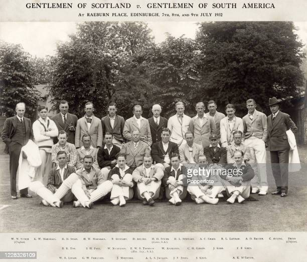 The Gentlemen of Scotland and The Gentlemen of South America prior to their cricket match at Raeburn Place in Edinburgh on 7th July 1932.