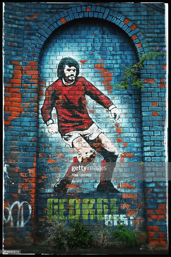 The George Best mural is seen outside Windsor Park prior to the FIFA 2014 World Cup Group F Qualifier match between Northern Ireland and Russia at Windsor Park on August 14, 2013 in Belfast, Northern Ireland.