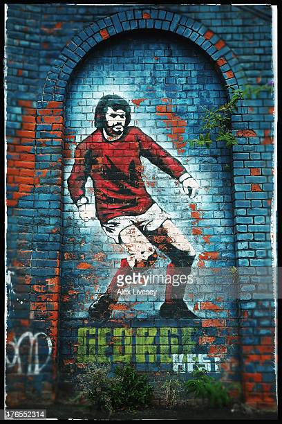 The George Best mural is seen outside Windsor Park prior to the FIFA 2014 World Cup Group F Qualifier match between Northern Ireland and Russia at...