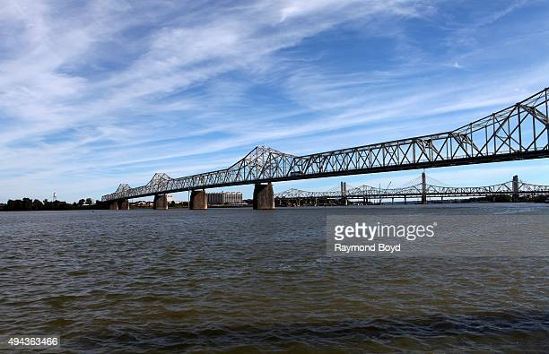The George Rogers Clark Memorial Bridge and John F Kennedy Memorial Bridge on October 4 2015 in Louisville Kentucky