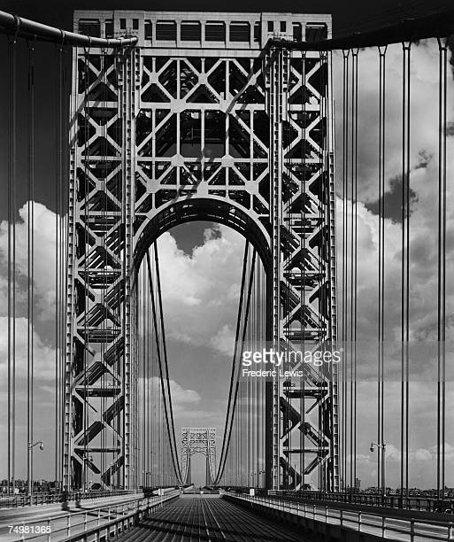 The George Washington Bridge across the Hudson River looking east from New Jersey circa 1950 The bridge connects Fort Lee in New Jersey to Manhattan...