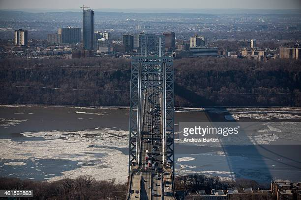 The George Washington Bridge which connects Fort Lee NJ and New York City is seen on January 9 2014 in Fort Lee New Jersey New Jersey Governor Chris...
