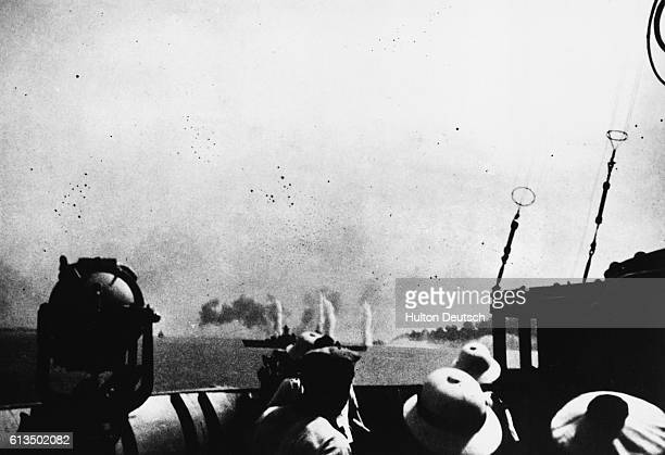 The Georges Leygues battleship under fire of British warships off the coast of Dakar Senegal during World War II