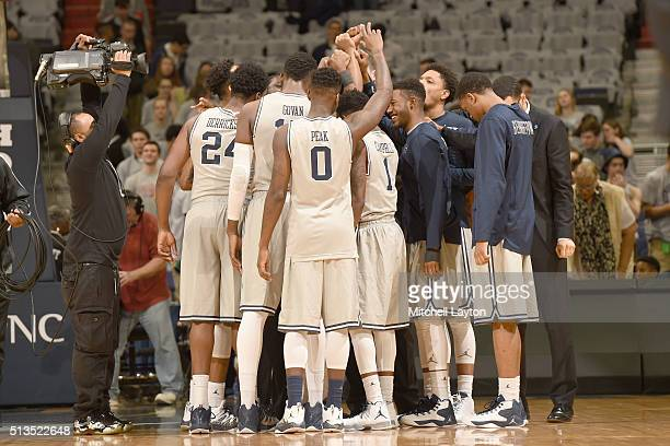 The Georgetown Hoyas huddle before a college basketball game against the Xavier Musketeers at the Verizon Center on February 20 2016 in Washington DC...