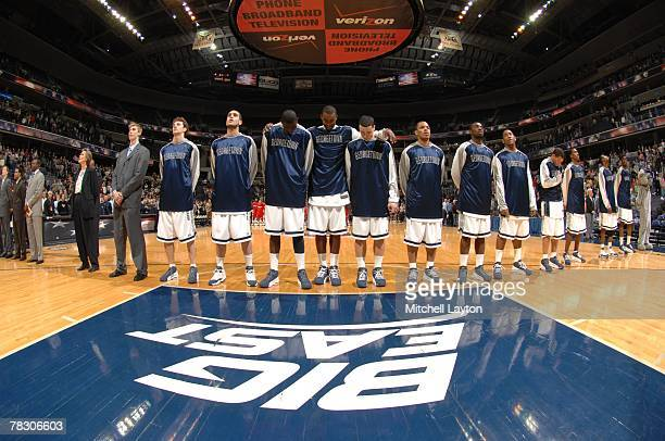 The Georgetown Hoyas line up for the National Anthem before a college basketball game against the Fairfield Stags at Verizon Center on December 1...