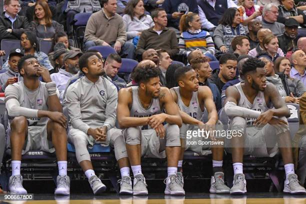 The Georgetown Hoyas sit on the bench as time winds down in the second half on January 17 at the Capital One Arena in Washington DC The Villanova...